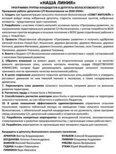 Состав поселкового Совета народных депутатов вВолосатовском сельском поселении